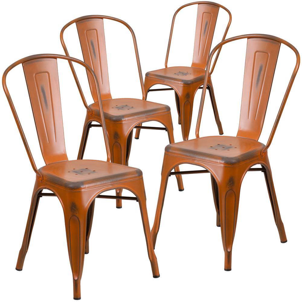 Stackable Metal Outdoor Dining Chair in Orange (Set of 4)