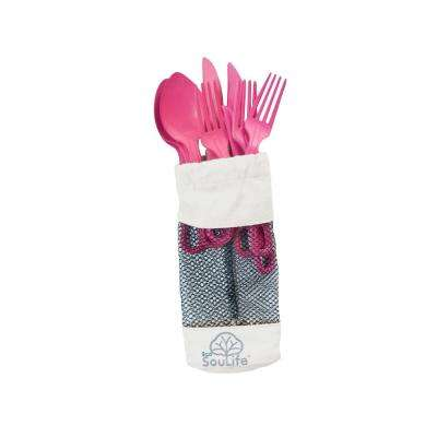 Bamboo 12-Piece Pink Cutlery (2-Pack)