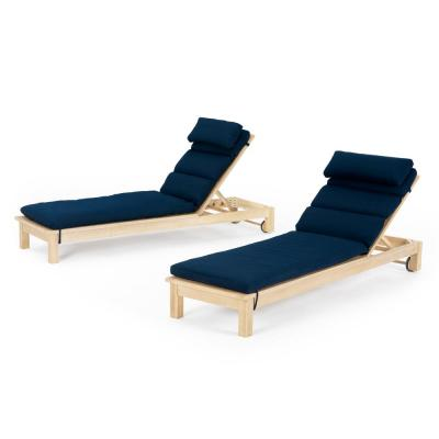 Kooper Wood Outdoor Chaise Lounges with Navy Blue Cushions (Set of 2)