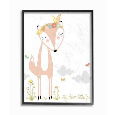 "16 in. x 20 in. ""Peach Floral and Feathered Stay Clever Little Fox"" by Karen Zukowski Printed Framed Wall Art"