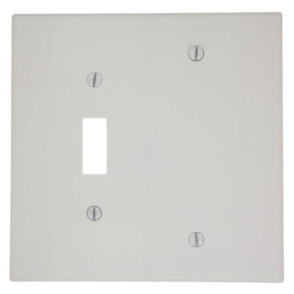 2-Gang Midway Size 1-Toggle 1 No-Device Blank Plastic Combination Wall Plate,