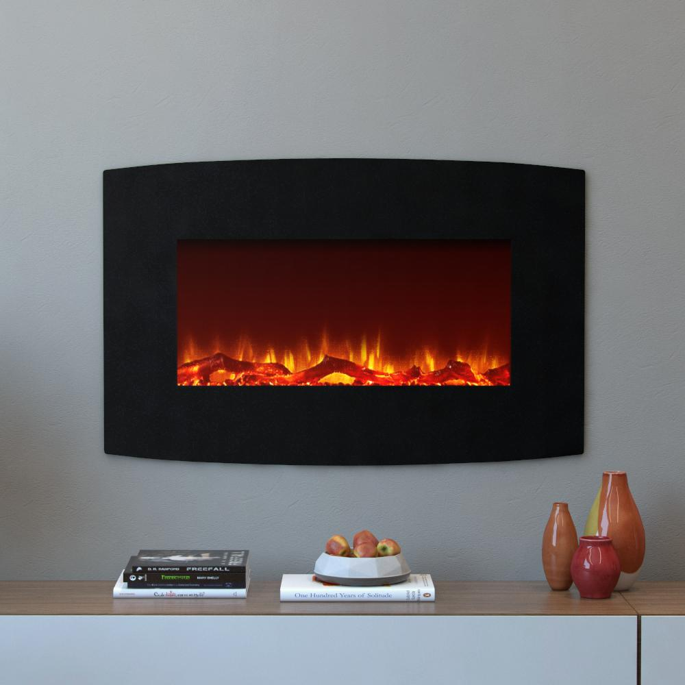 Moda Flame Chelsea 35 In Curved Wall Mounted Electric