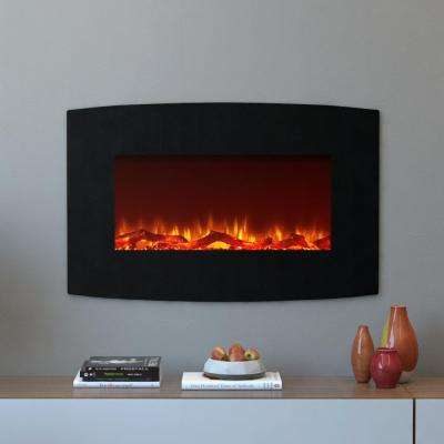 Chelsea 35 in. Curved Wall Mounted Electric Fireplace in Black Log