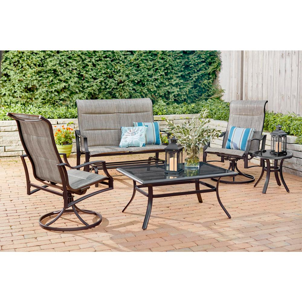 Hampton Bay Statesville Pewter 5-Piece Aluminum and Steel Padded Sling Outdoor Deep Seating Set
