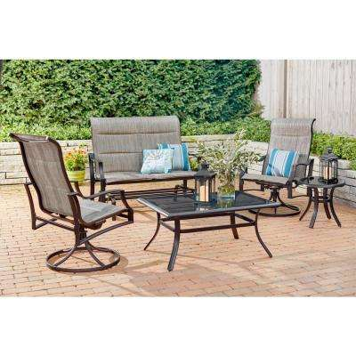 Statesville Pewter 5-Piece Aluminum and Steel Padded Sling Outdoor Deep Seating Set