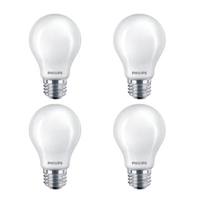 60-Watt Equivalent A19 Non-Dimmable Energy Saving Frosted Classic Glass LED Light Bulb Daylight (5000K) (4-Pack)