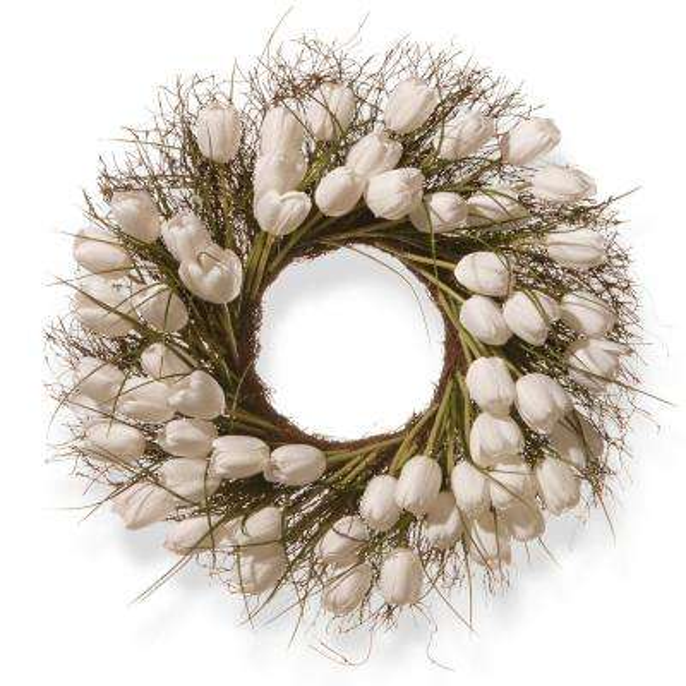24 in. White Tulip Wreath