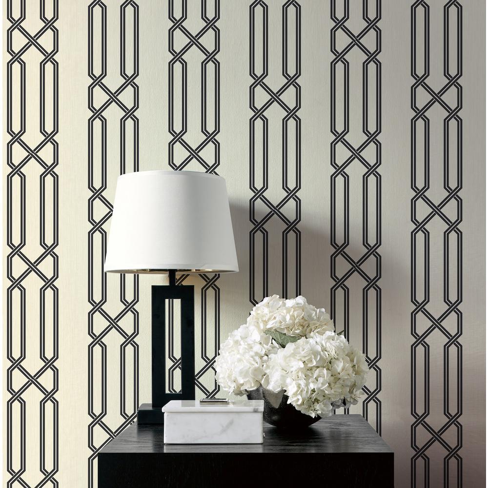 Lattice Metallic Pearl and Ebony Contemporary Wallpaper