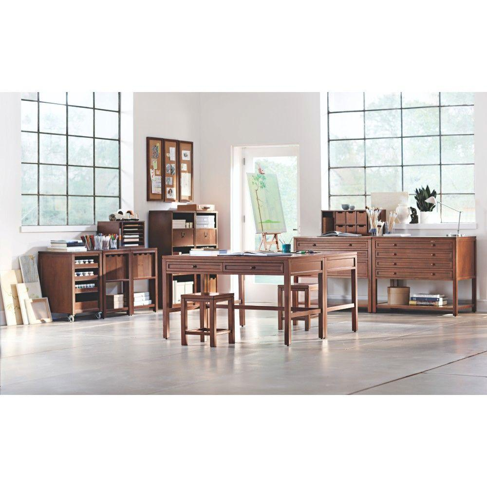 martha stewart living craft space sequoia wood counter stool