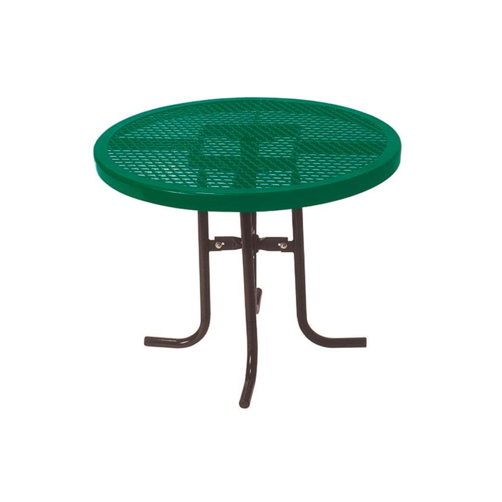 Ultra Play 36 in. Diamond Green Commercial Park Low Round Portable Table The 361 sq. portable food court table is a standard 30 in. high. The tabletop is 36 in. with a diamond expanded metal pattern and thermoplastic coating. The frame is powder coated with a 1-5/5 in. O.D., all MIG welded, with a no trip design. The table is portable and come with all stainless steel hardware. Color: Green.
