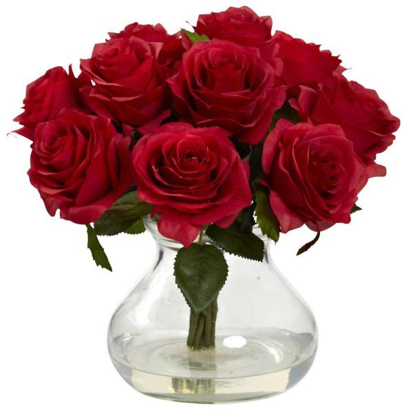 Nearly Natural Rose Arrangement with Vase 1367-RD