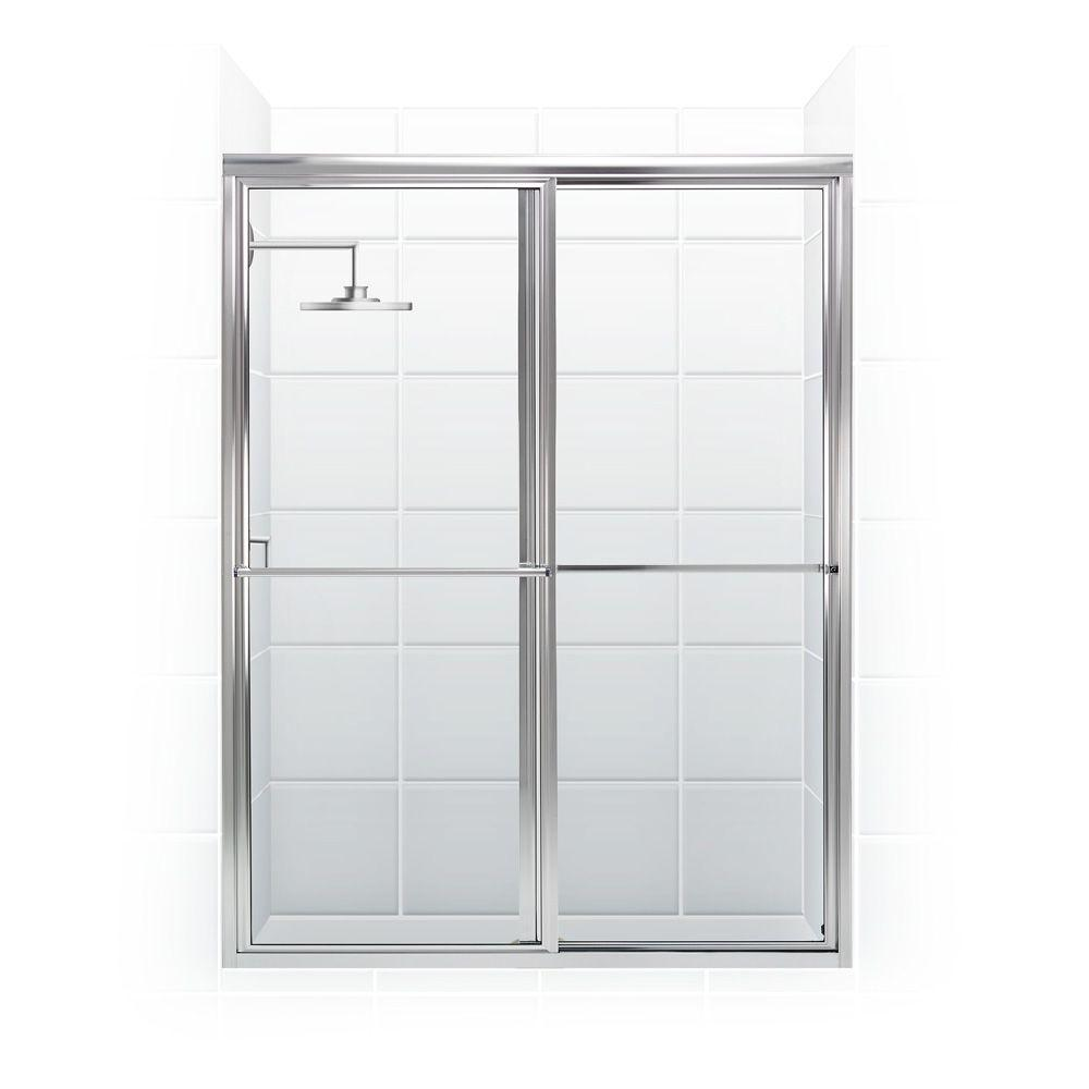 Coastal Shower Doors Newport Series 60 in. x 70 in. Framed Sliding Shower Door with Towel Bar in Chrome and Clear Glass