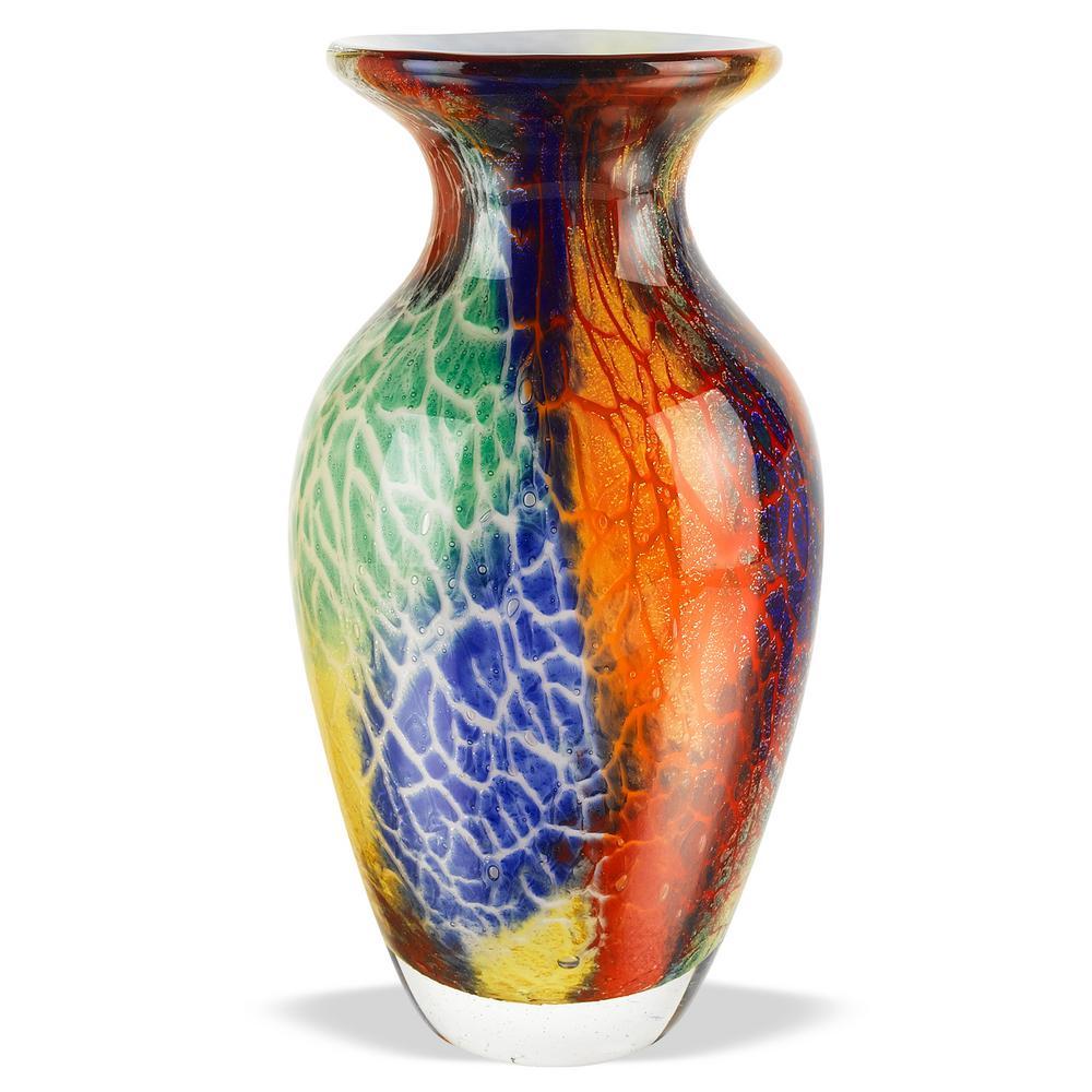 18 in. Firestorm Murano Style Art Glass Vase