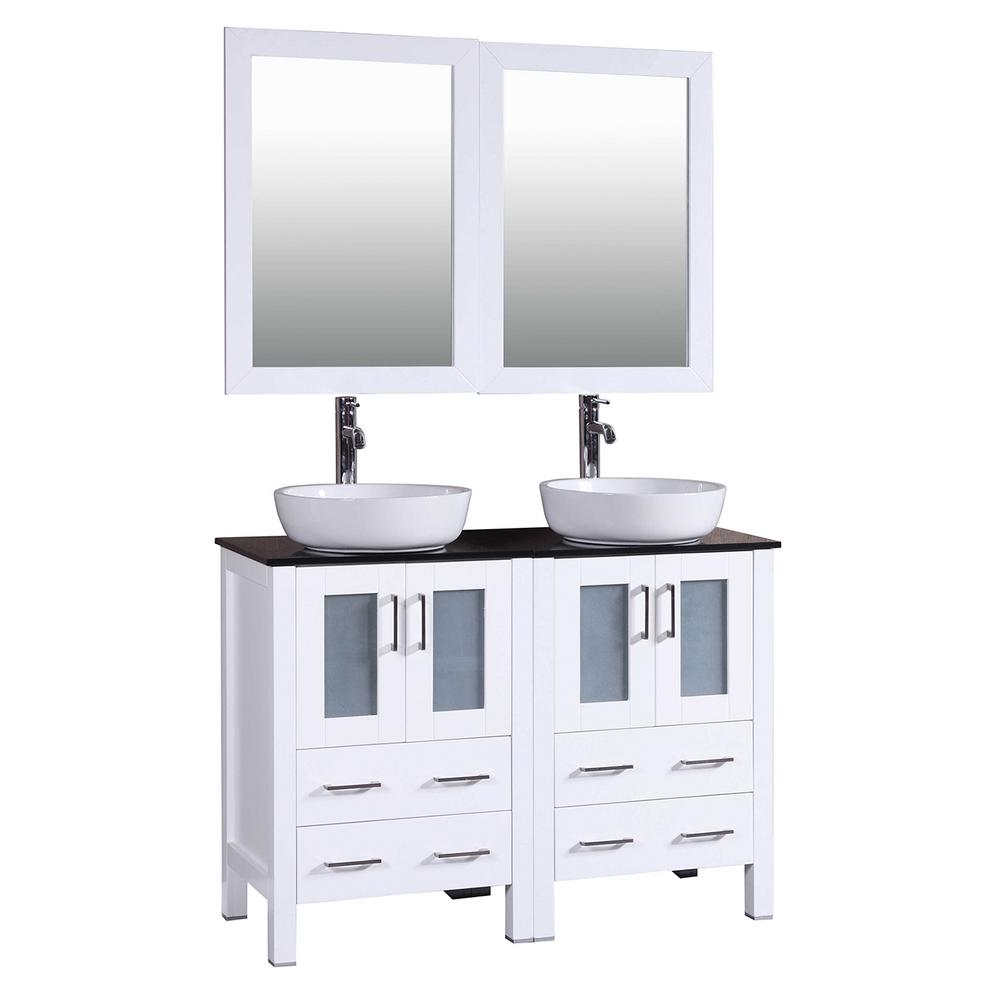 Bosconi 48 in. W Double Bath Vanity in White with Tempered Glass Vanity Top with White Basin and Mirror