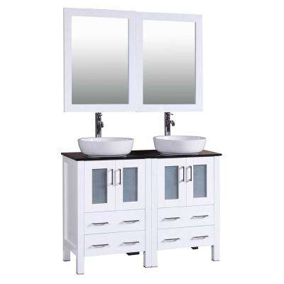 48 in. W Double Bath Vanity in White with Tempered Glass Vanity Top with White Basin and Mirror