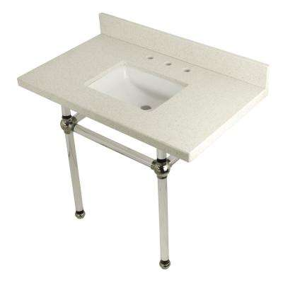 Square-Sink Washstand 36 in. Console Table in White Quartz with Acrylic Legs in Polished Nickel