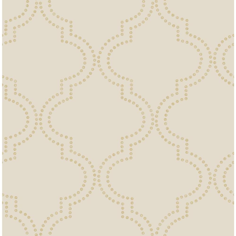 A-Street Tetra Beige Quatrefoil Wallpaper Sample 2625-21805SAM