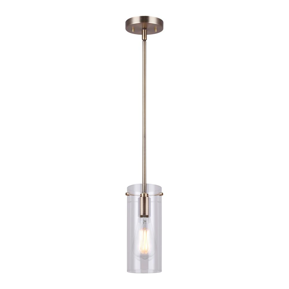 CANARM Joni 1-Light Gold Pendant with Clear Glass Shade