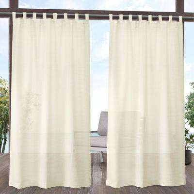 Miami Ivory Light Filtering Tab Top Curtain Panel 54 in. W x 108 in. L (2 Panels)