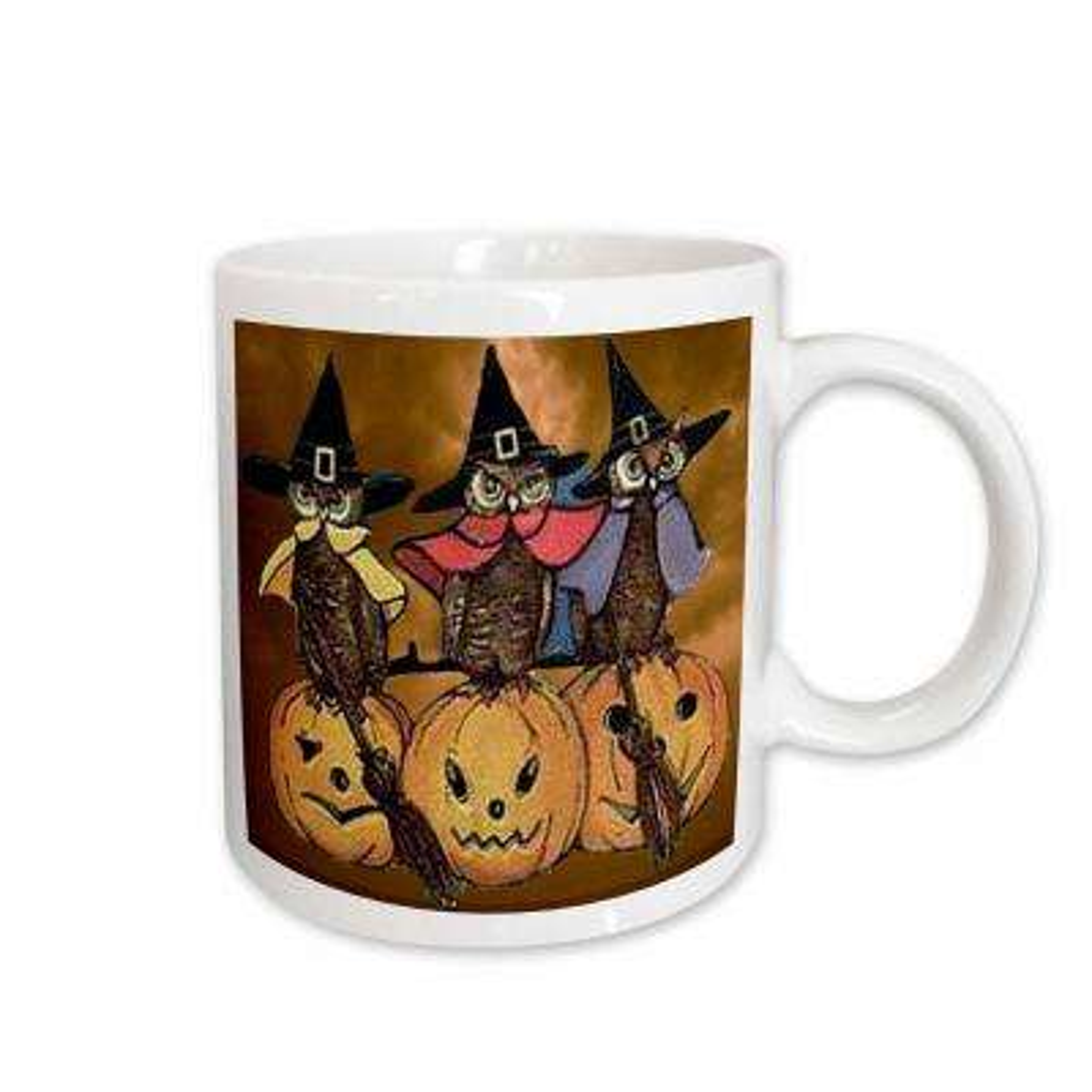 Sandy Mertens Vintage Halloween Designs 11 oz. White Ceramic Vintage Owls on Jack o Lanterns Mug