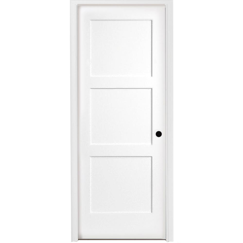 Steves & Sons 36 in. x 80 in. 3-Panel Equal Shaker White Primed LH Solid Core Wood Single Prehung Interior Door with Nickel Hinges