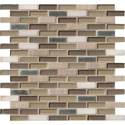 Silver Tip 12 in. x 12 in. Glass Stone Metal Blend Mesh-Mounted Mosaic Wall Tile
