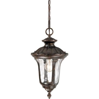 1-Light Indoor or Outdoor Aluminum Vintage Bronze Hanging Pendant with Water Glass