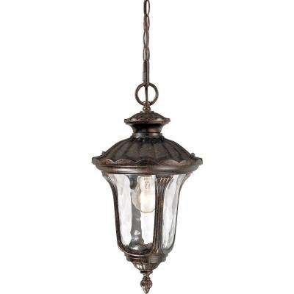 1-Light Indoor or Outdoor Aluminum Vintage Bronze Hanging Pendant with Water Glass