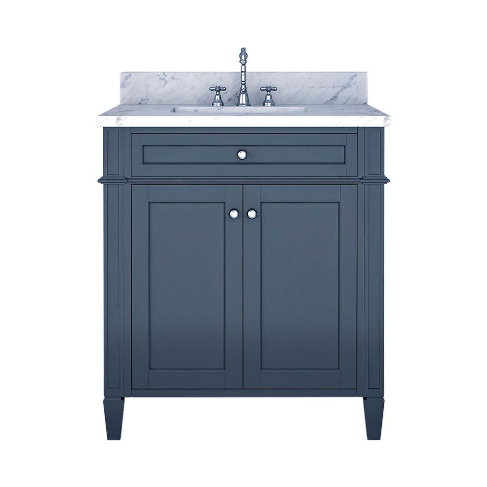 Alya Bath Samantha 30 in. W x 22 in. D Bath Vanity in Gray with Marble Vanity Top in White with White Basin