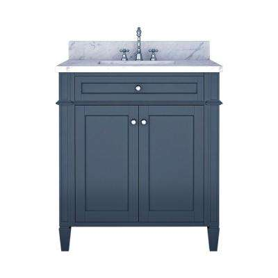 Samantha 30 in. W x 22 in. D Bath Vanity in Gray with Marble Vanity Top in White with White Basin