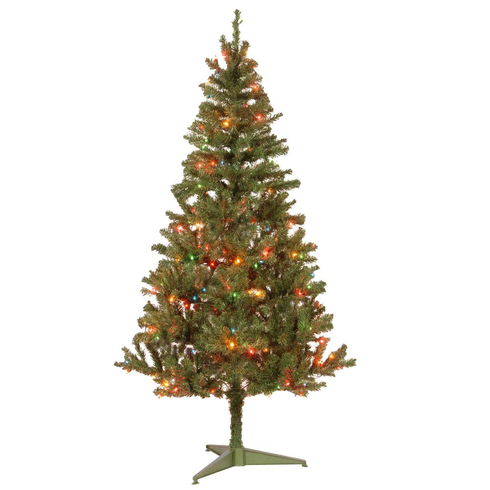 6 ft. Canadian Grande Fir Artificial Christmas Tree with Multicolor Lights