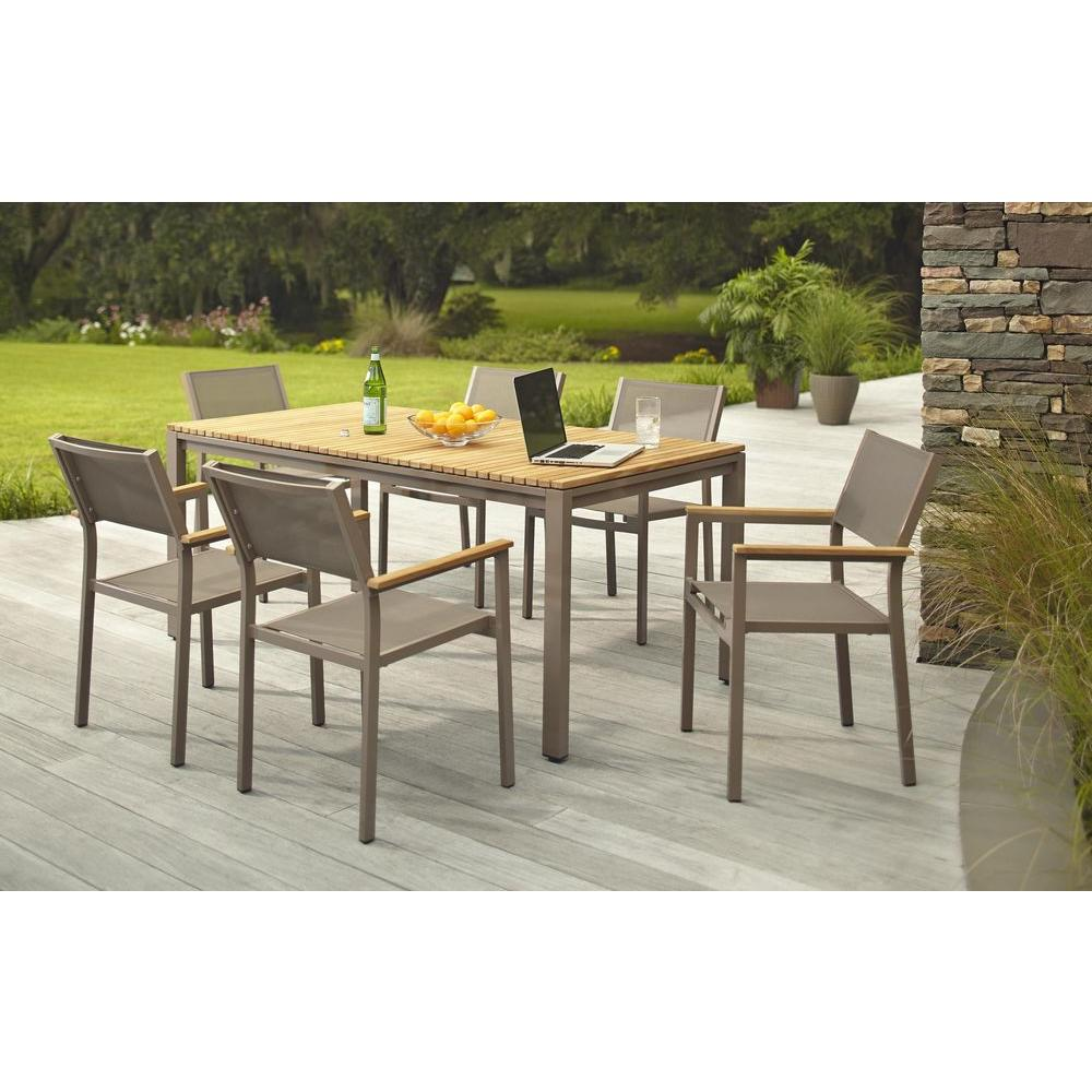 Exceptional Hampton Bay Barnsdale Teak 7 Piece Patio Dining Set Set T1840+C2011   The Home  Depot