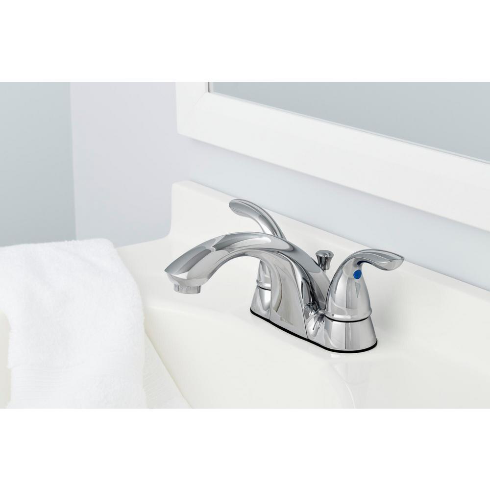 Builders 4 in. Centerset 2-Handle Low-Arc Bathroom Faucet in Chrome