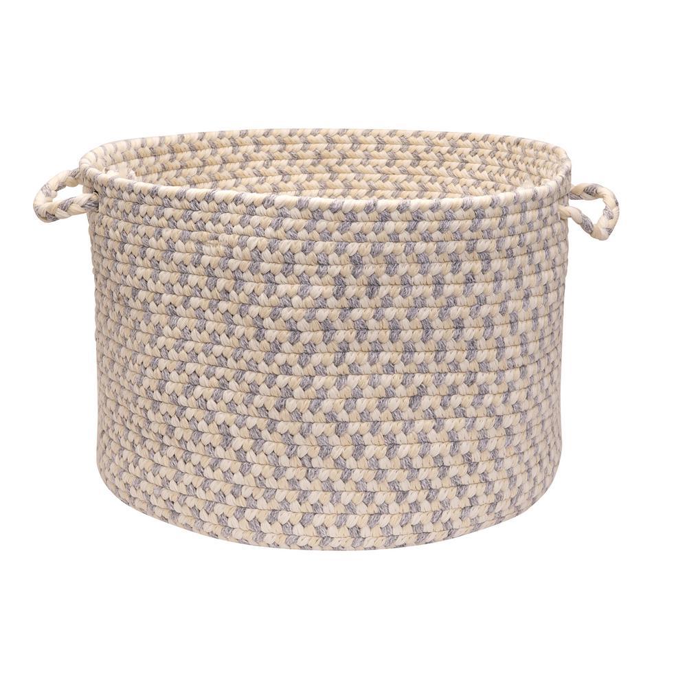 Dogwood 18 in. x 18 in. x 12 in. Stonewash Round Wool-Blend Basket