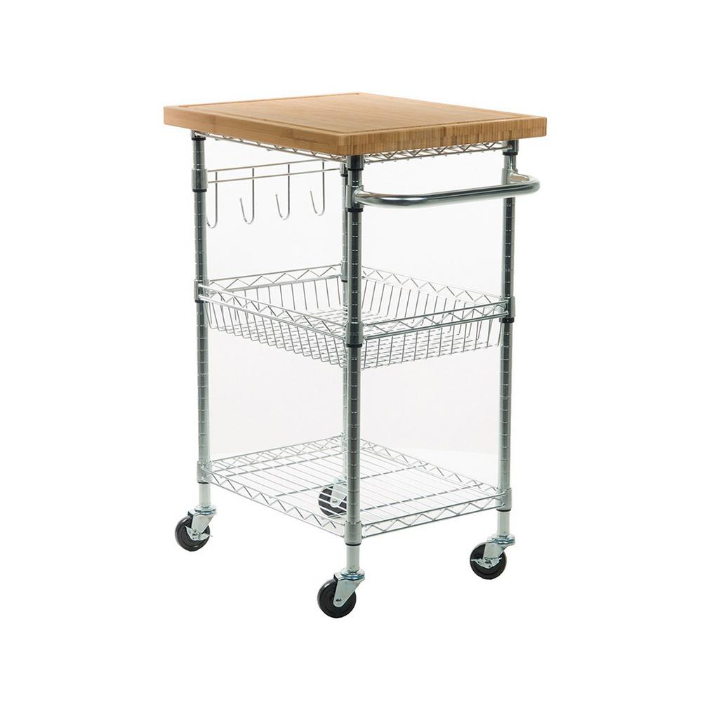 trinity eco storage chrome kitchen cart with bamboo top