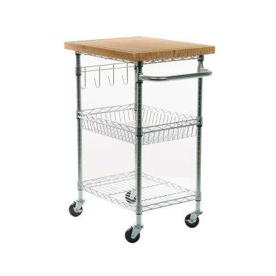 Eco Storage Chrome Kitchen Cart With Bamboo Top