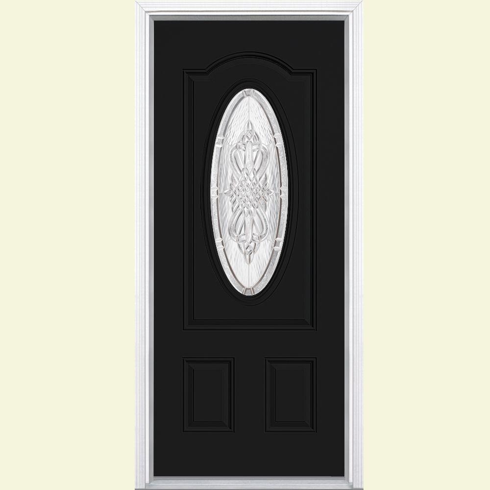 36 in. x 80 in. New Haven 3/4 Oval Left Hand Painted Smooth Fiberglass Prehung Front Door w/ Brickmold, Vinyl Frame