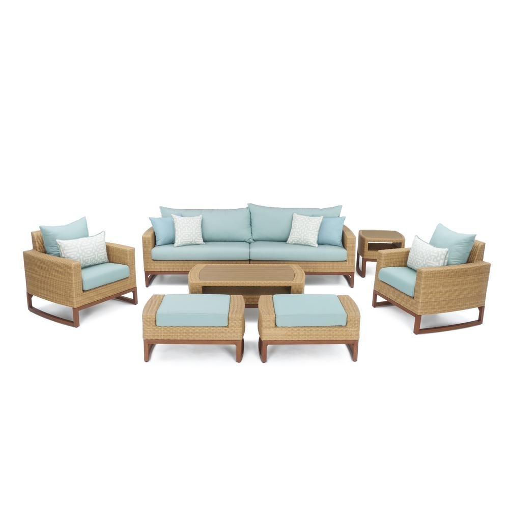 RST Brands Mili 8-Piece Wicker Patio Deep Seating Conversation Set with Sunbrella Spa Blue Cushions