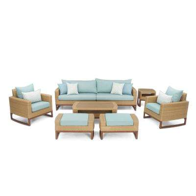 Mili 8-Piece Wicker Patio Deep Seating Conversation Set with Sunbrella Spa Blue Cushions