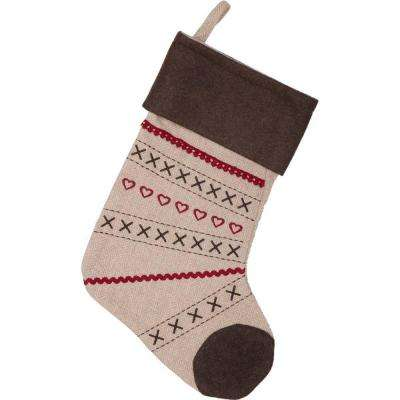 15 in. Merry Little Christmas Khaki Tan Traditional Decor Stocking