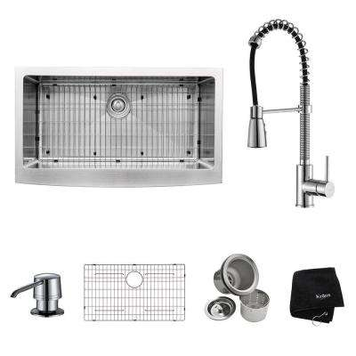 All-in-One Farmhouse Apron Front Stainless Steel 36 in. Single Bowl Kitchen Sink with Faucet and Accessories in Chrome