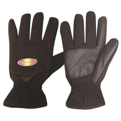 Large Black Heated Fleece Gloves