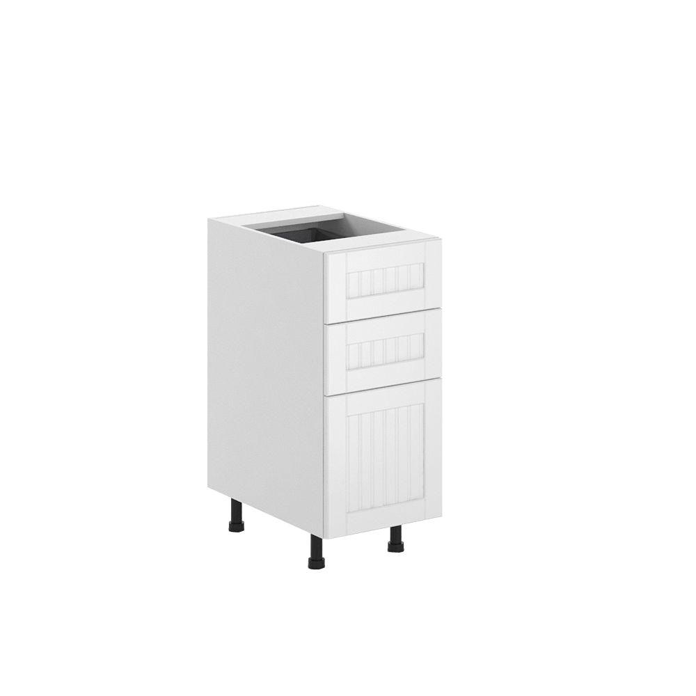 Eurostyle Ready to Assemble 15x34.5x24.5 in. Odessa 3-Drawer Base Cabinet in White Melamine and Door in White