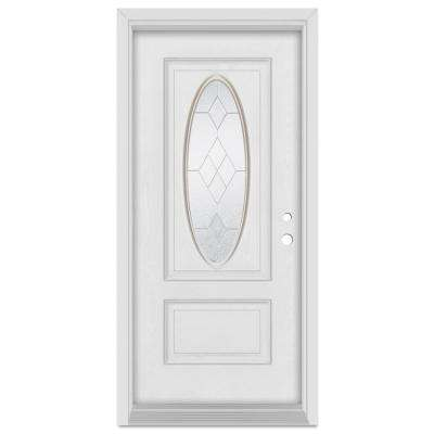 36 in. x 80 in. Geometric Left-Hand Zinc Finished Fiberglass Mahogany Woodgrain Prehung Front Door Brickmould