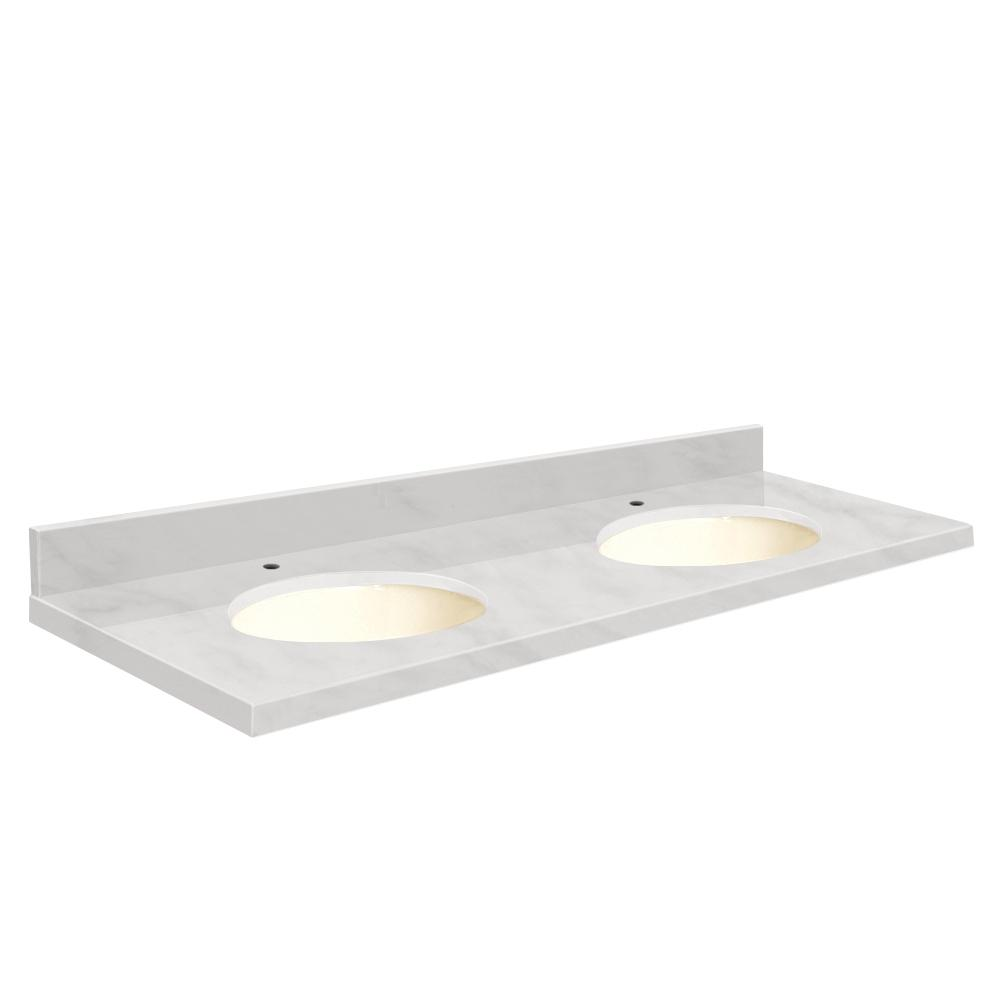Unbranded 61 In W X 22 In D Marble Double Basin Vanity