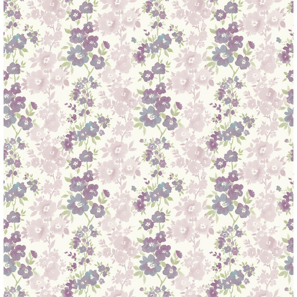 Willa, Charlise Plum Floral Stripe Wallpaper