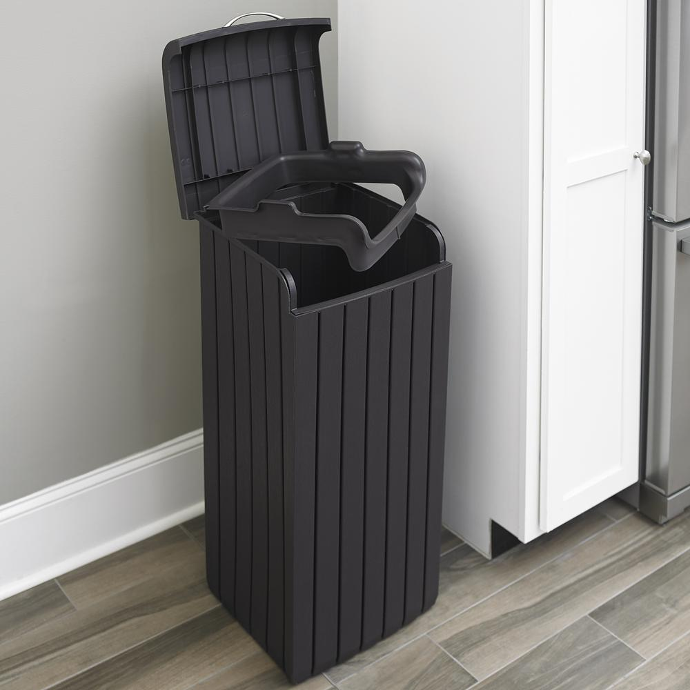 trash garbage can keter 30 gal brown outdoor indoor wood style plastic new ebay. Black Bedroom Furniture Sets. Home Design Ideas