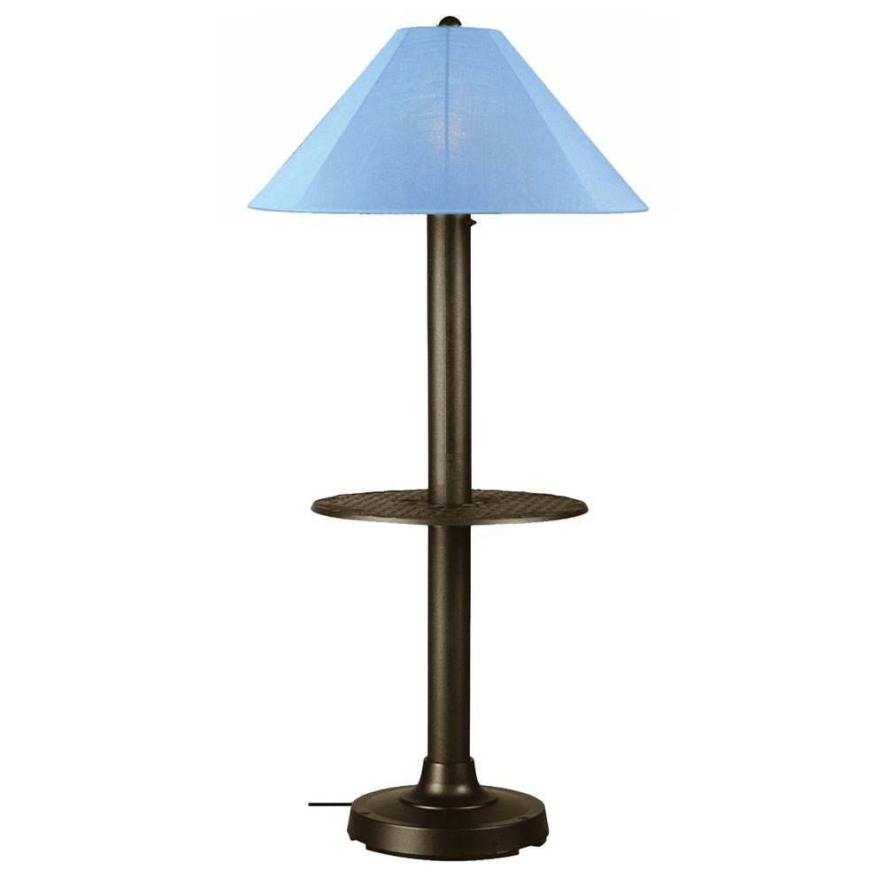 Patio Living Concepts Catalina 63.5 in. Bronze Outdoor Floor Lamp with Tray Table and Sky Blue Shade