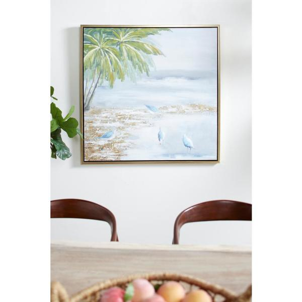 Litton Lane Painting of Beach and Birds Framed Canvas Wall Art