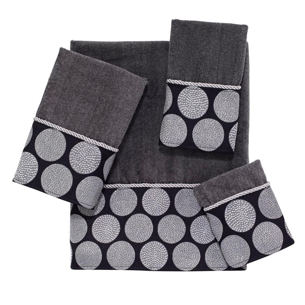 Dotted Circles 4-Piece Bath Towel Set in Granite